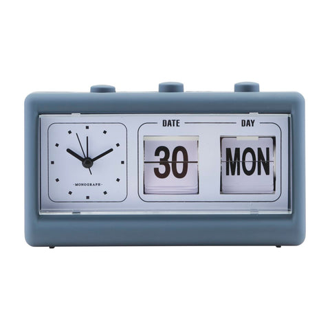 CLOCK, RETRO, BLUE, W. ALARM AND CALENDAR