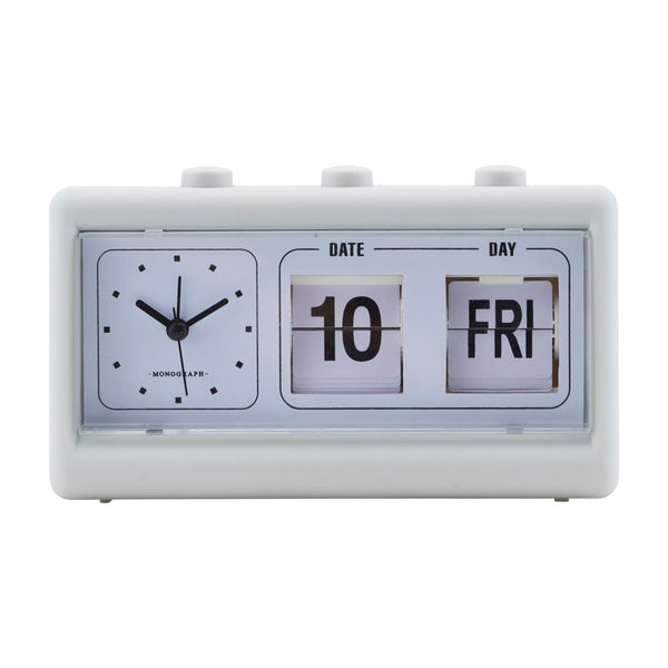 CLOCK, RETRO, GREY, W. ALARM AND CALENDAR