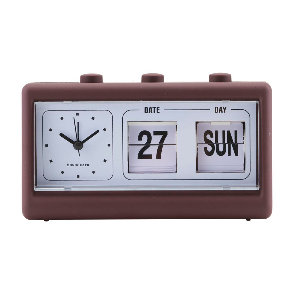 CLOCK, RETRO, W. ALARM AND CALENDAR - Burgandy