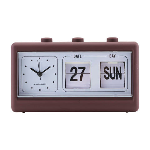 CLOCK, RETRO, BURGUNDY/BROWN, W. ALARM AND CALENDAR