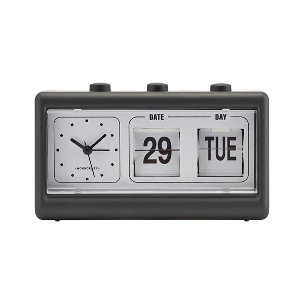 CLOCK, RETRO, W. ALARM AND CALENDAR black