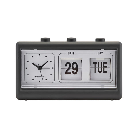 CLOCK, RETRO, W. ALARM AND CALENDAR- Black