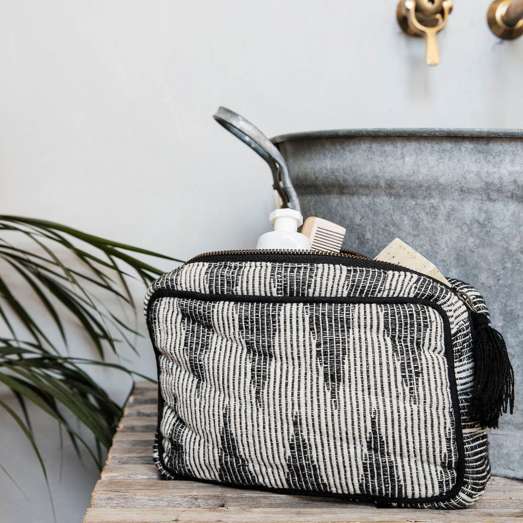 Makeup bag, Grey/White