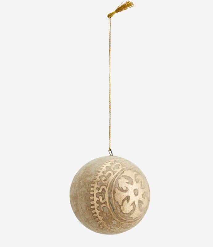 Papier Mache Christmas decoration- natural/gold