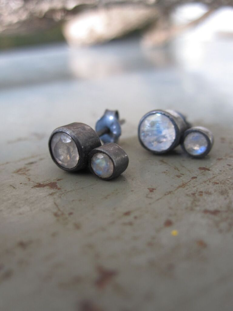 925 Oxidised Silver Double Moonstone Earrings
