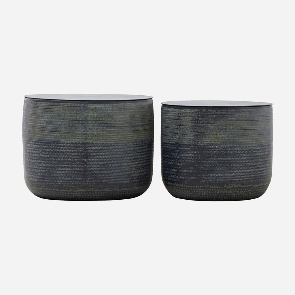 Storage w. lid, Kenya Village, Black- Set of 2