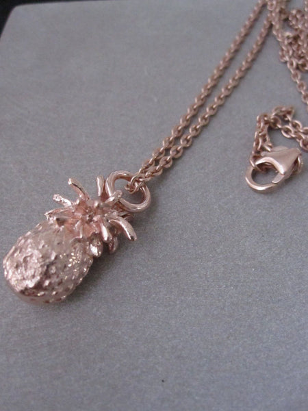 925 Silver Rose Gold Plated Pineapple Necklace