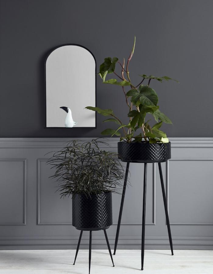 Indian Metal Planter- Tall black