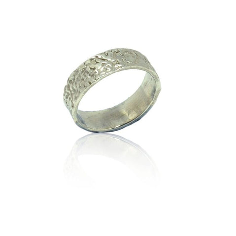 925 Solid Silver Speckled Finish Band
