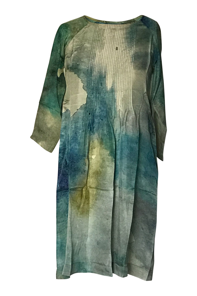 Yavi 100% Silk Dress - Green/Blue