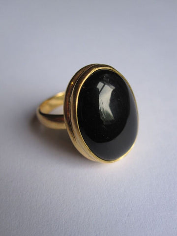 Collard Manson 925 Silver Oval Black Onyx Ring Gold