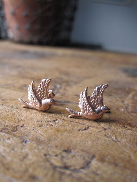 CollardManson 925 Silver Little Bird Studs- Rose Gold