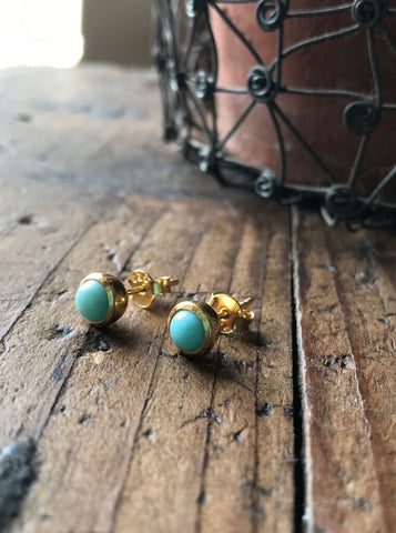 925 Silver Larima Studs- Gold plated
