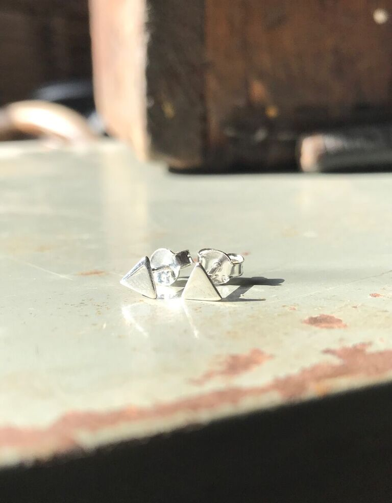 925 Silver Small Triangle Studs