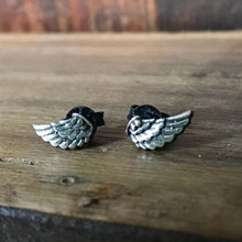 925 Silver Oxidised Small Wing Studs