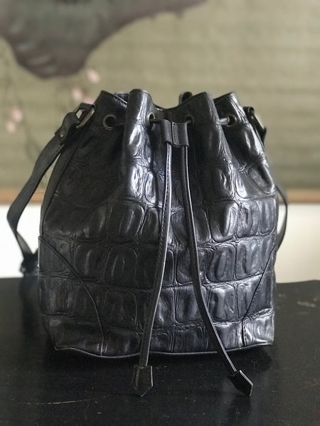 CollardManson Bucket Bag - Black Croc Leather
