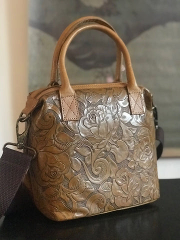 CollardManson Maya Bag- Tan Floral Leather