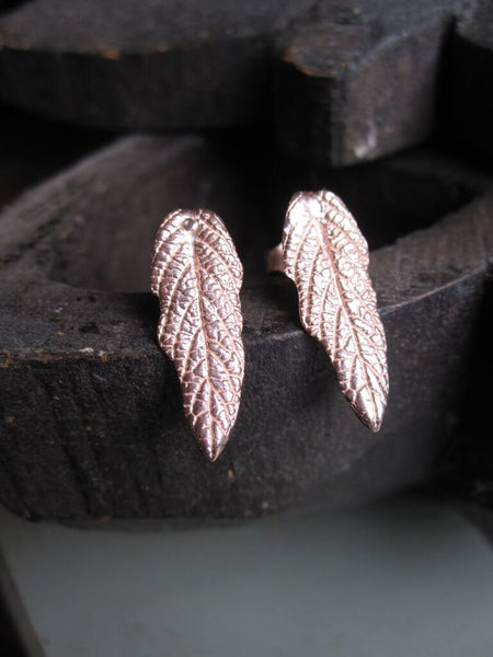 925 Rose Gold Plated Leaf Stud Earrings