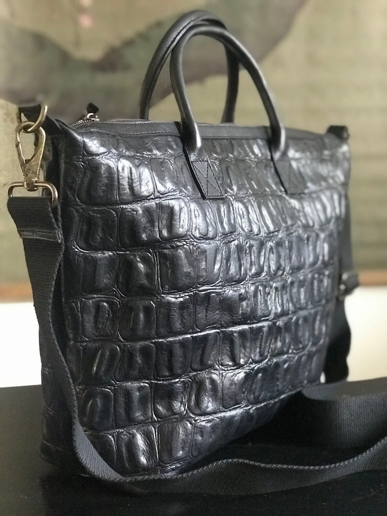 CollardManson Elke Bag - Black Croc Leather