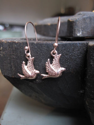 CollardManson Rose Gold Plated 925 Silver Little Bird Earrings