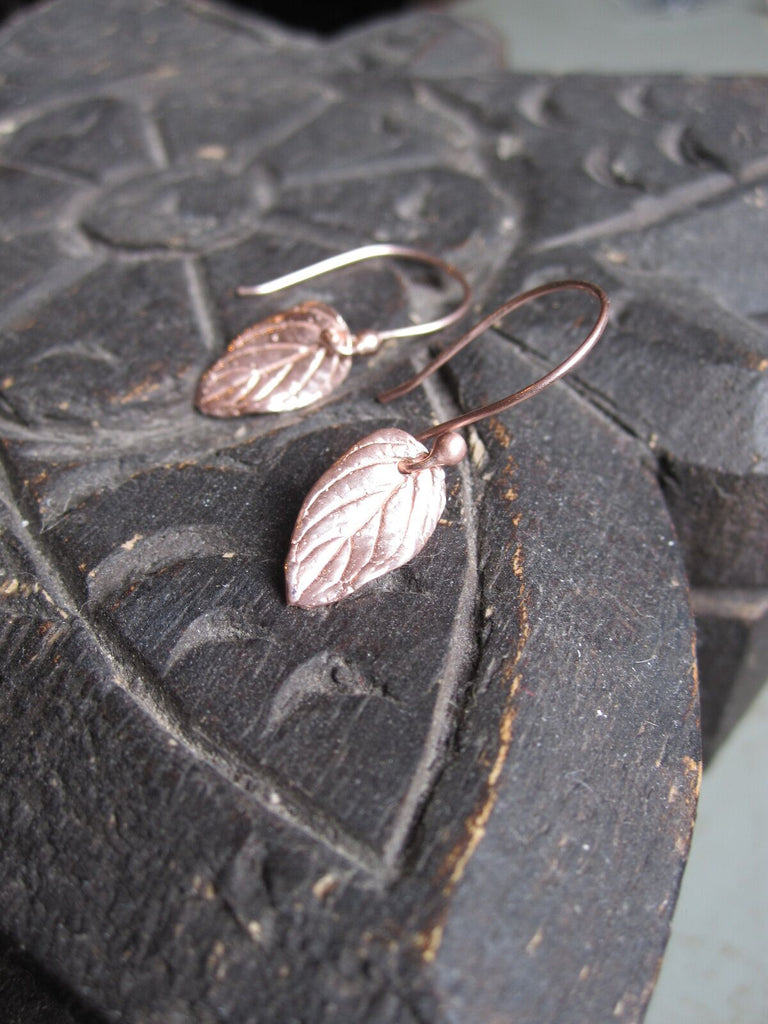 CollardManson 925 Silver Small Leaf Earrings- Rose gold