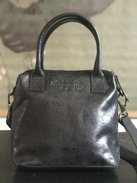 CollardManson Maya Bag- Black Floral Leather