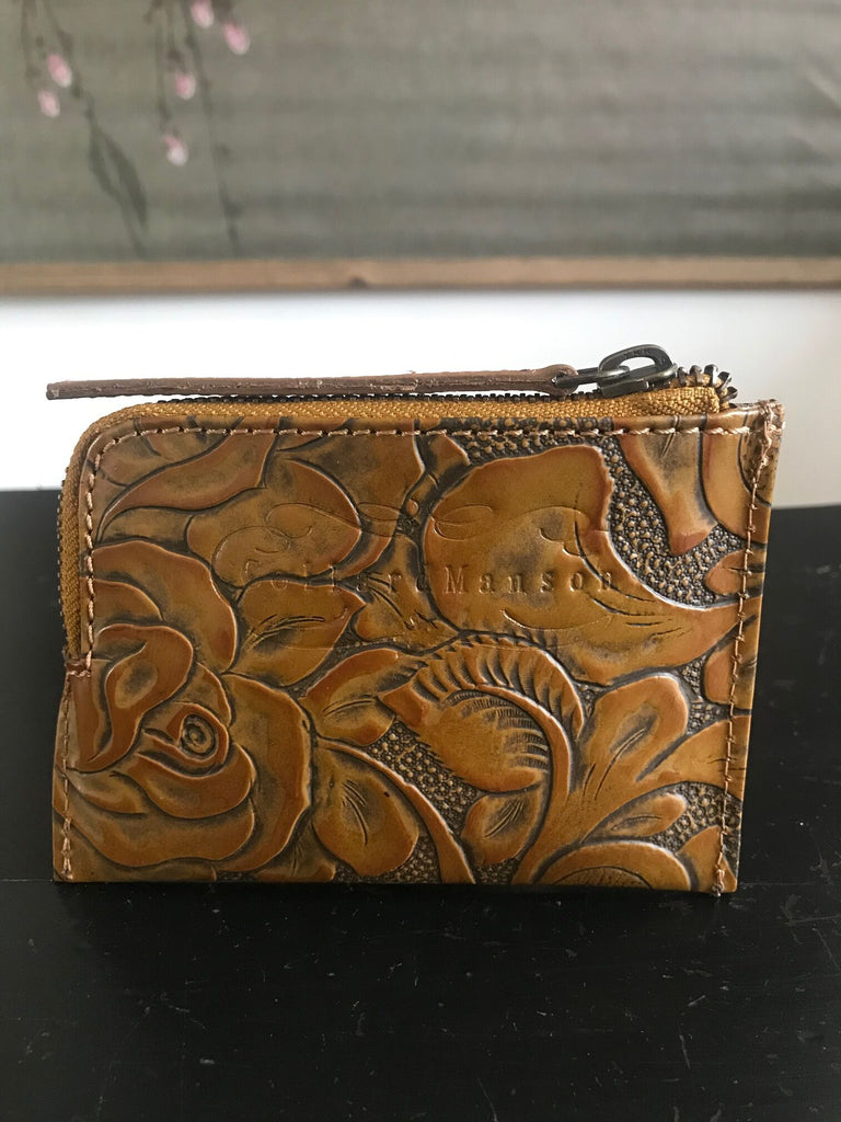 CollardManson Tan Floral Leather Wallet
