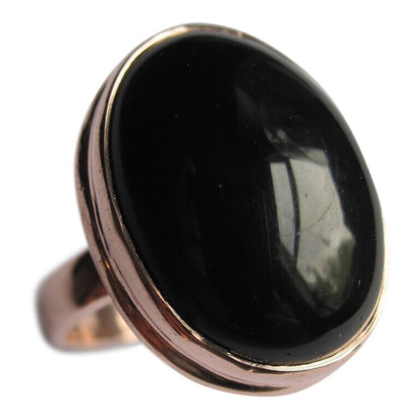 Collard Manson 925 Silver Oval Black Onyx Ring Rose Gold