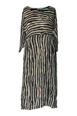 Yavi Eriko Dress - Black/White/Blue Stripe