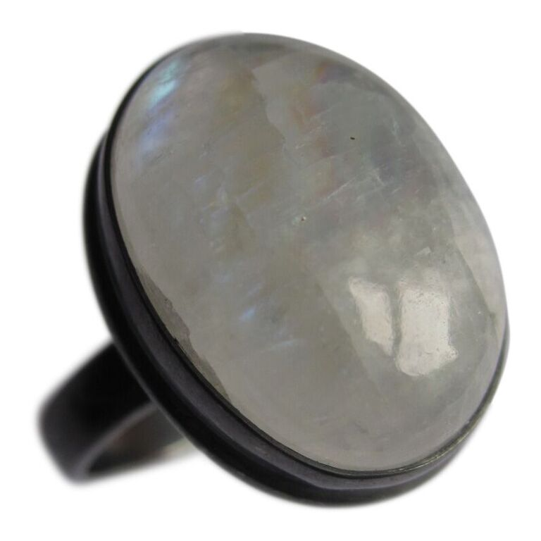 Collard Manson 925 Silver Oval Rainbow Moonstone Ring Oxidised