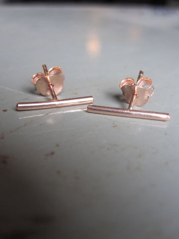 925 Silver Bar Earrings - Rose Gold