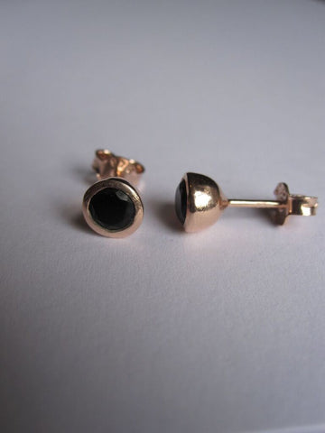 CollardManson 925 Silver Black Onyx Studs- Rose gold plated