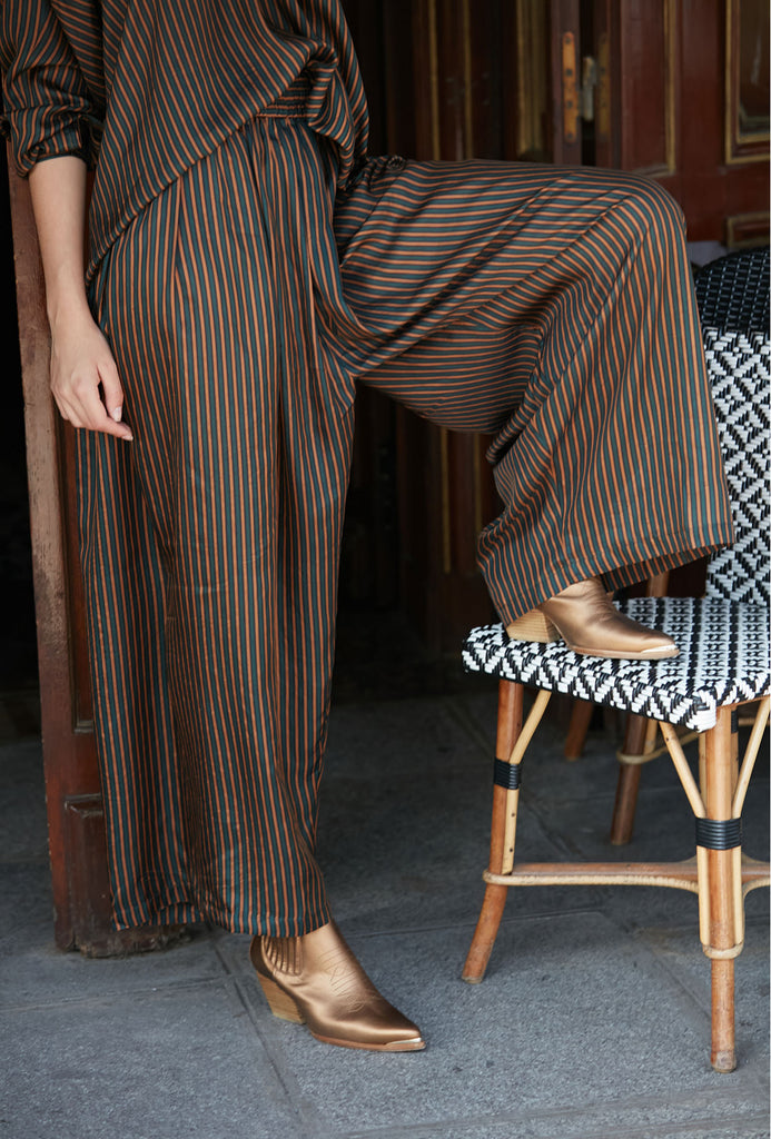 Mes Demoiselles AW20  Trousers - Green Stripe - Sabra