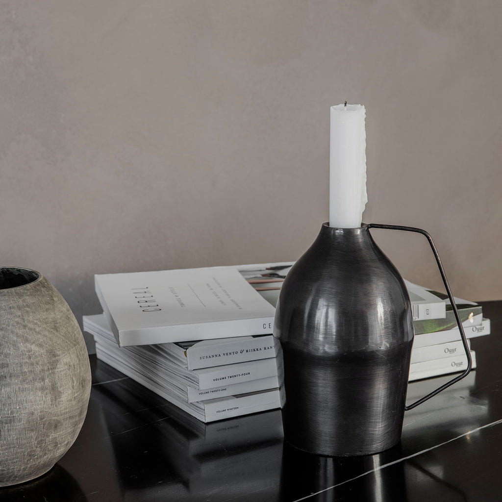 Candle Stand, Vigi, Black oxidised