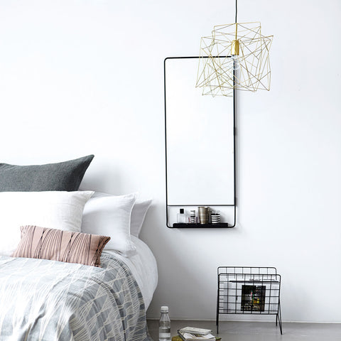 Mirror With Shelf, Chic Black