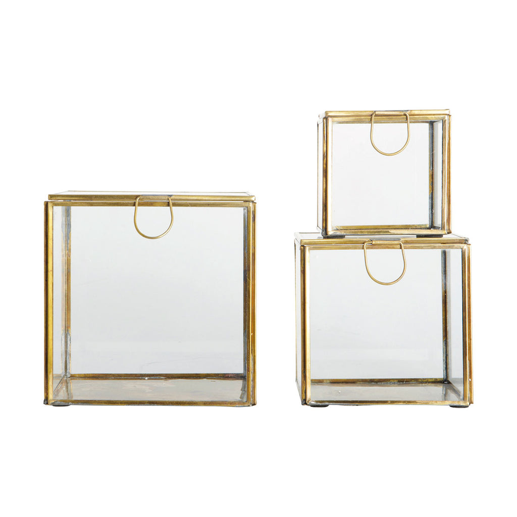 STORAGE BOX, SET OF 3 SIZES, BRASS