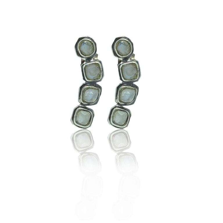 CollardManson 925 silver Irregular Multi Moonstone Earrings