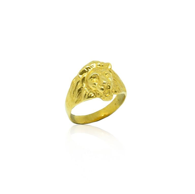 CollardManson 925 Silver Lion Ring-Gold