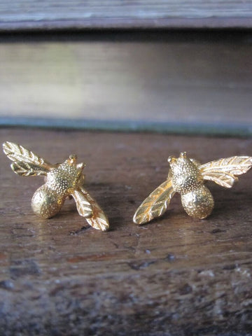Bee Earrings- 925 Silver with gold plate