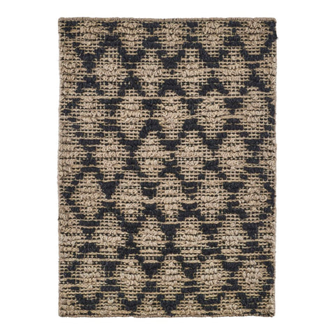 RUG, HARLEQUIN, BLACK/NATURAL - LARGE 85x130