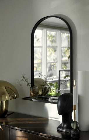 Black iron mirror with glass shelf