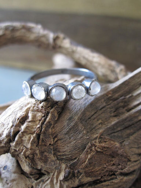 925 Silver 5 Moonstone Ring