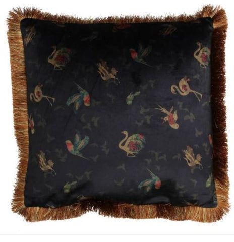 Velvet birds cushion