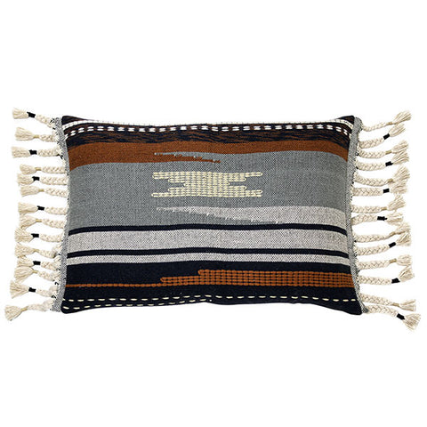 Dark Aztec Cushion with Tassels