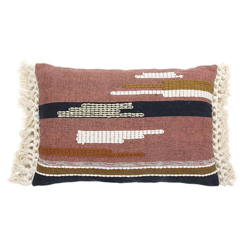 Light Aztec Cushion with Tassels