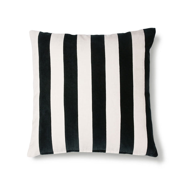 striped cushion velvet black/white