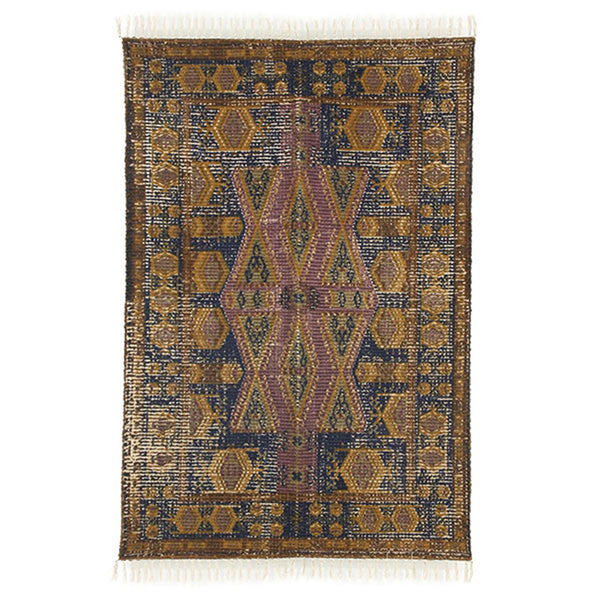 printed cotton / jute stonewashed rug
