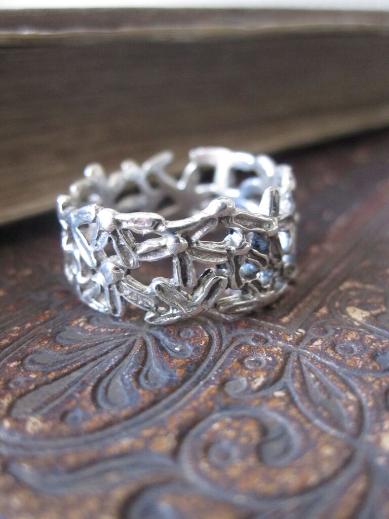 925 Silver Flowers with Oxidised Finish Ring