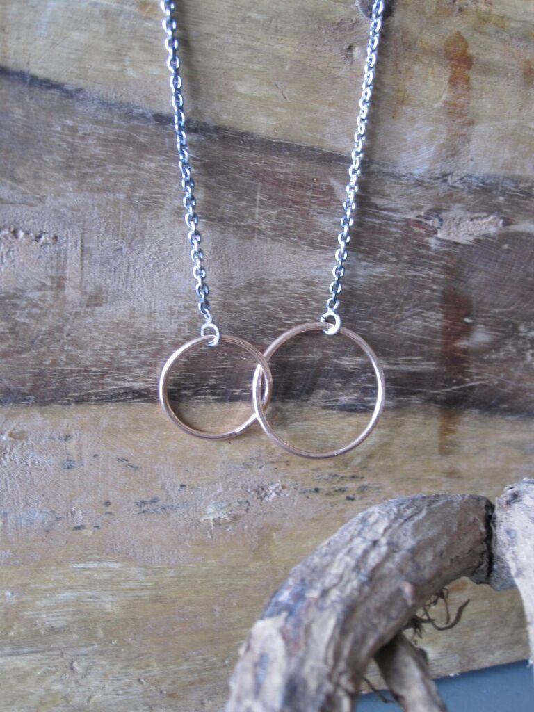 925 Silver Double  Rose Hoop Necklace