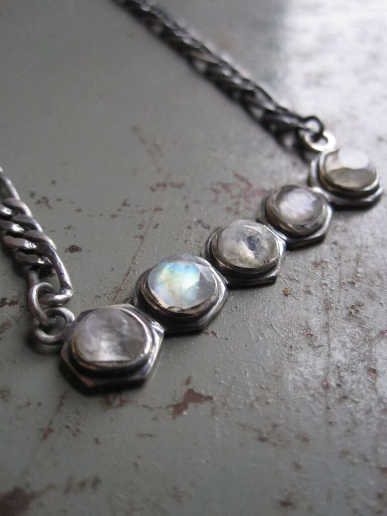 925 Silver 5 Moonstone Necklace